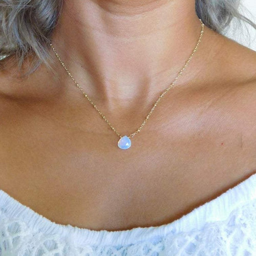 Dainty Opalite Drop Necklace
