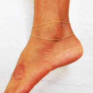 Double Strand Layered Anklet in 14k Gold Filled OR Sterling Silver 925