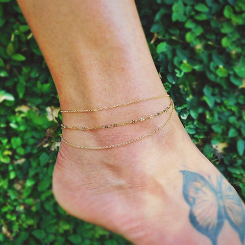 Womens Boho Layered Anklet in 14k Gold Filled