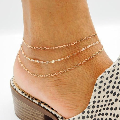 Monaco Layered Anklet in 14k Rose Gold Filled
