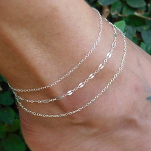 Womens Boho Layered Anklet in Sterling Silver