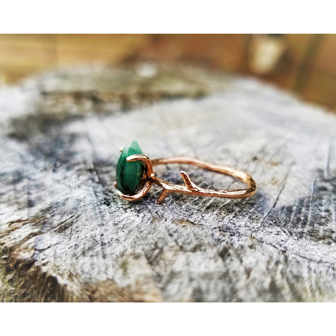 Raw Emerald Ring - May Birthstone