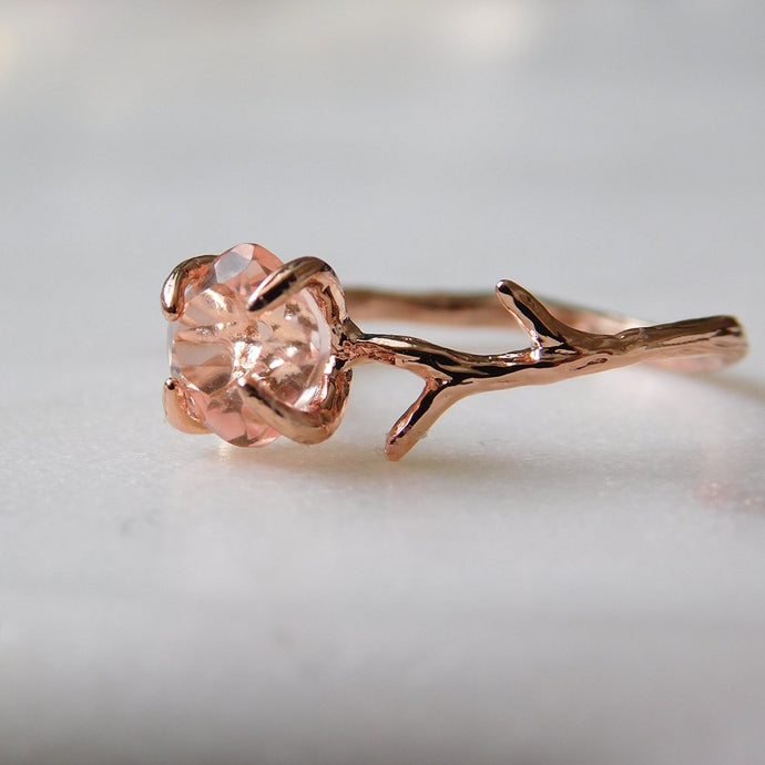 Savannah Rose Morganite Ring in Rose Gold or Sterling Silver 925