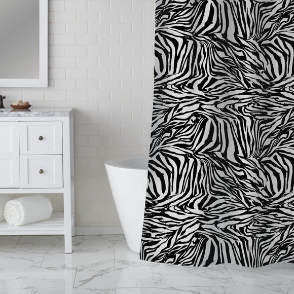 Zebra Black And White Shower Curtain