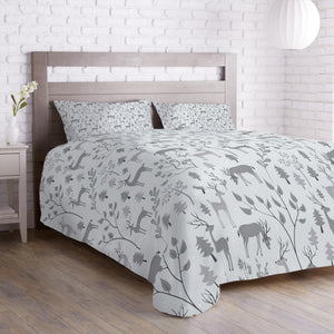 Deer in Winter Forest Duvet