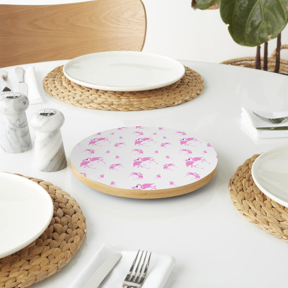 Flamingos In Love Lazy Susan