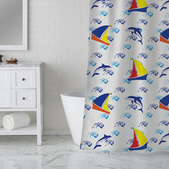 Jumping Dolphins Shower Curtain