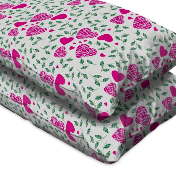 Hearts And Leaves Pillow Case