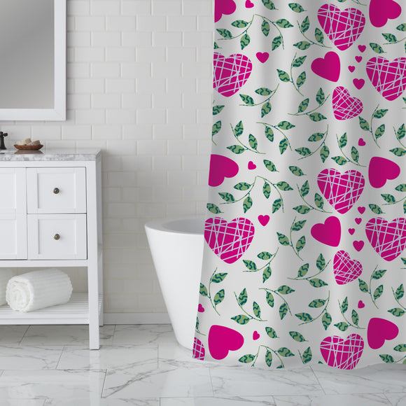 Hearts And Leaves Shower Curtain