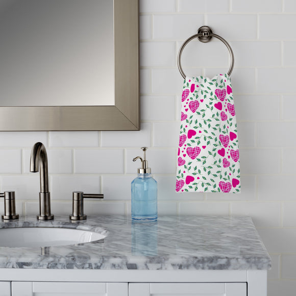 Hearts And Leaves Hand Towel