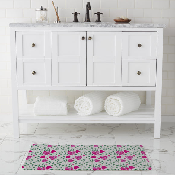 Hearts And Leaves Bathroom Rug