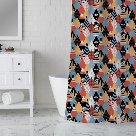 Patchwork Triangles Shower Curtain