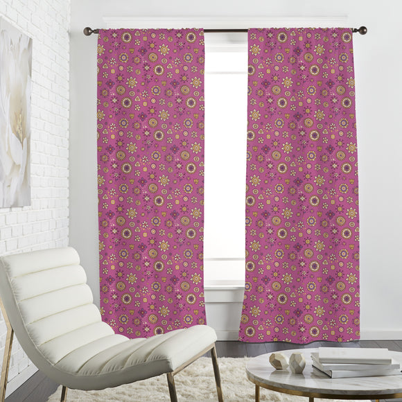 Scrapbook Flowers Curtains