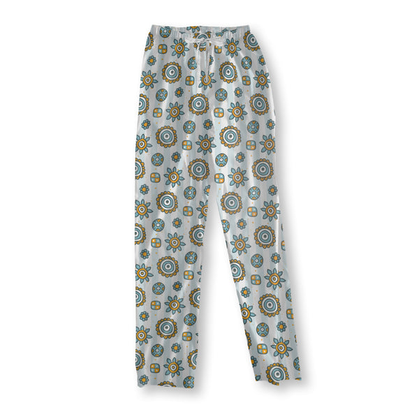 Doodle Flowers On Stripes Pajama Pants