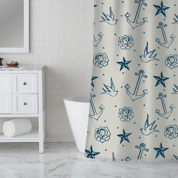Nautic Tattoos Shower Curtain
