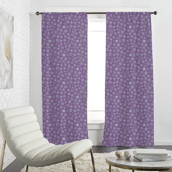 Outline Flowers Curtains