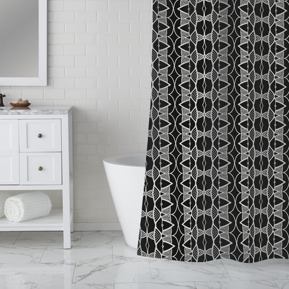 Punched Stripes Shower Curtain