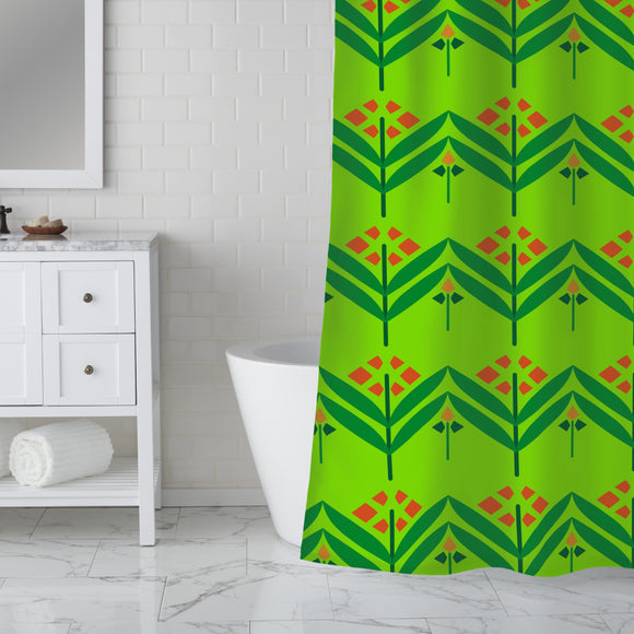Straight Flowers Shower Curtain