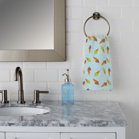 Ice Cream And Dots Hand Towel