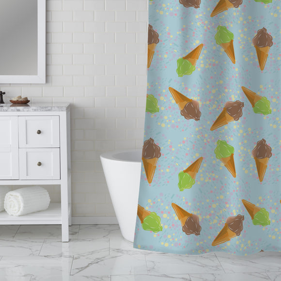 Ice Cream And Dots Shower Curtain