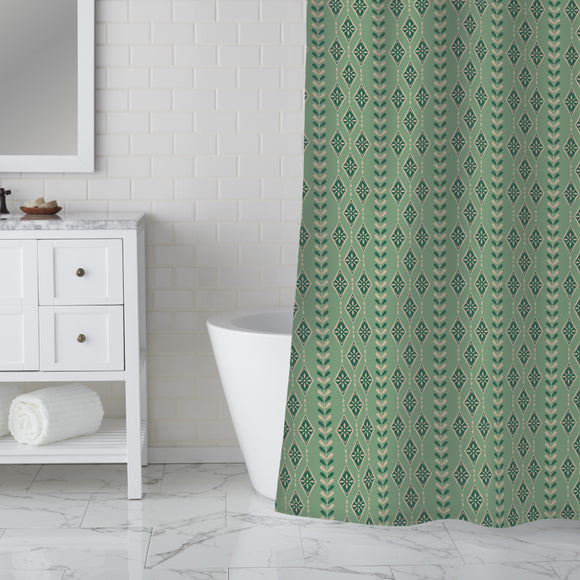 Vintage Snowflakes Stripes Shower Curtain