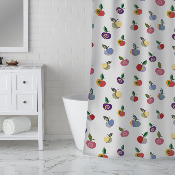 Embellished Apples Shower Curtain