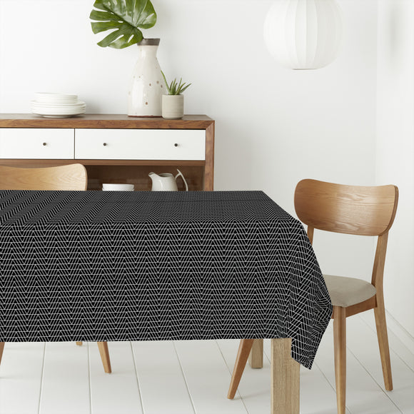 Monochrome Zigzag Rectangle Tablecloths