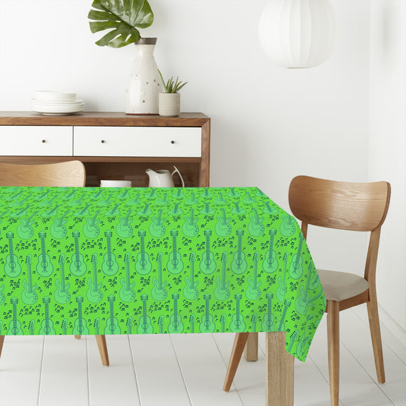 Acoustic Guitar And Music Notes Rectangle Tablecloths
