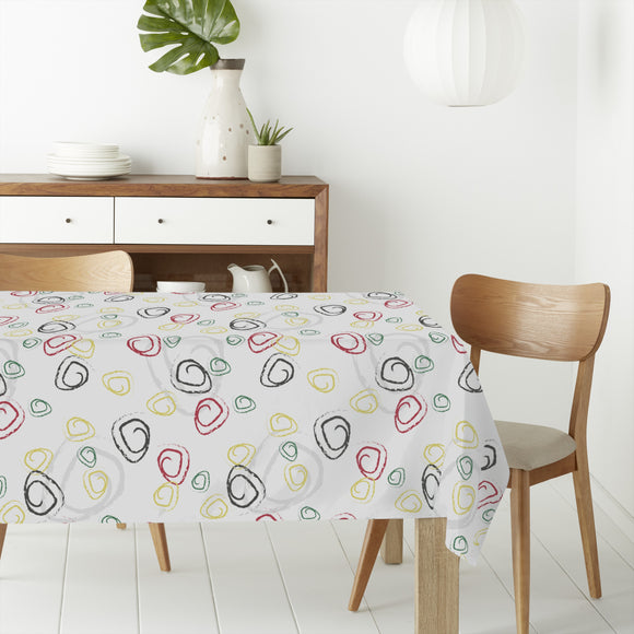 Abstract Chalk Curls Rectangle Tablecloths