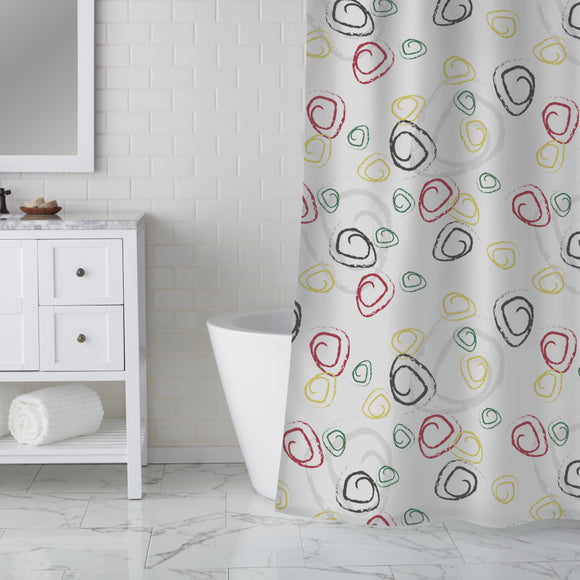 Abstract Chalk Curls Shower Curtain