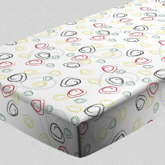 Abstract Chalk Curls Fitted Sheets