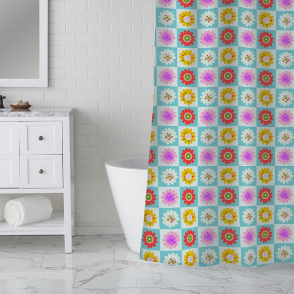Floral Squares Shower Curtain