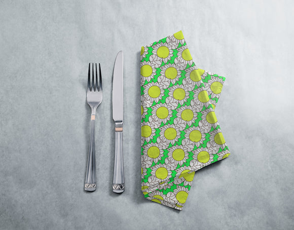 Abstract Sunflowers And Leaves Napkins