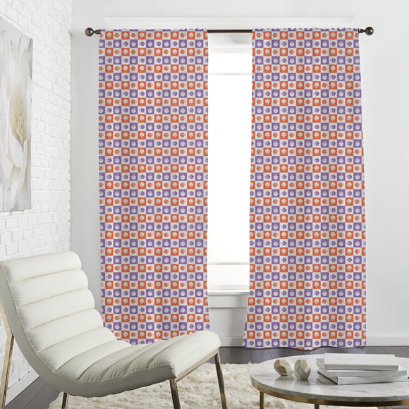 Checkerboard Blossoms Curtains