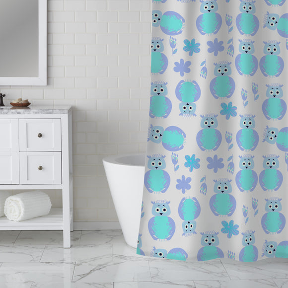 Owls And Flowers Shower Curtain