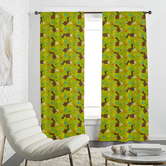 Easter Bunny Green Curtains