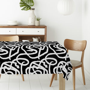 Black And White Painting Rectangle Tablecloths