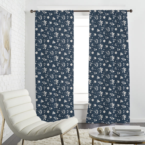 Delicate Flower Silhouettes Curtains