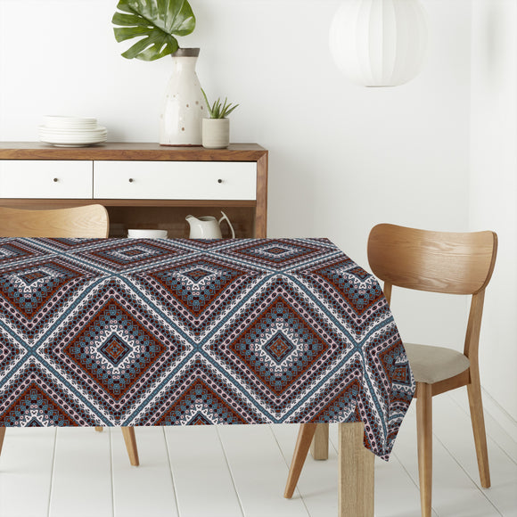 Amply Embellished Rhombus Rectangle Tablecloths