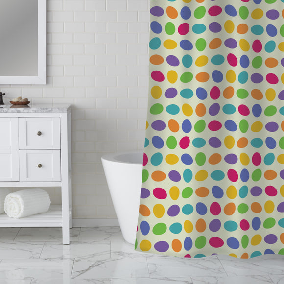 Rolling Eggs Shower Curtain