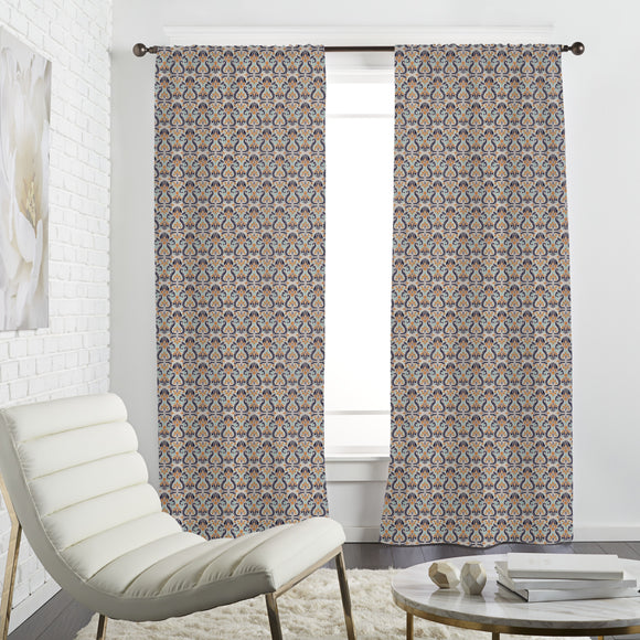 Retro Floral Ornaments  Curtains