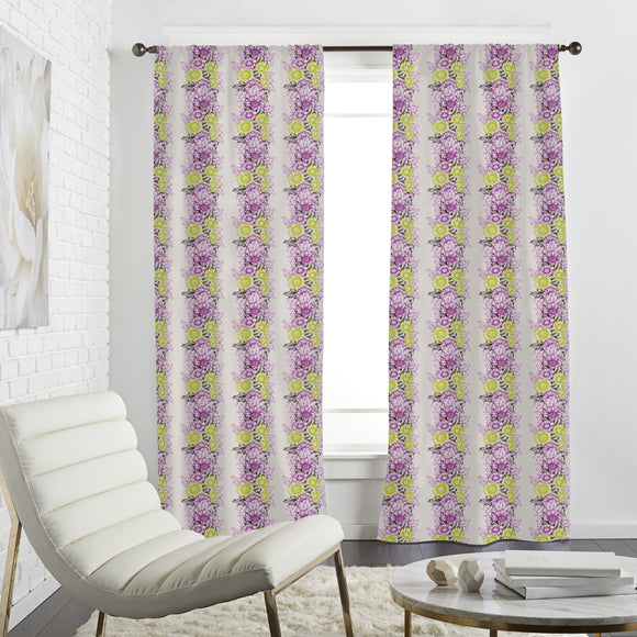 Flower Power Stripes Curtains