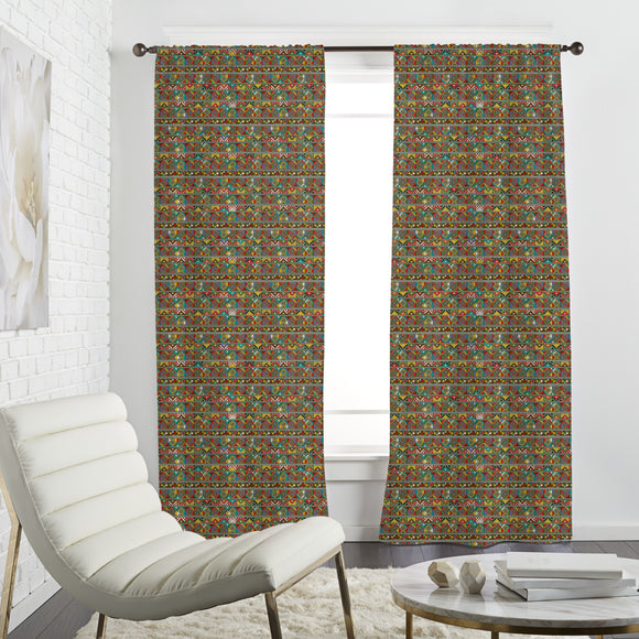 African Ethno Squares Curtains
