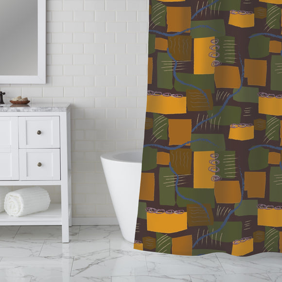 Abstract Rivers and Fields Shower Curtain