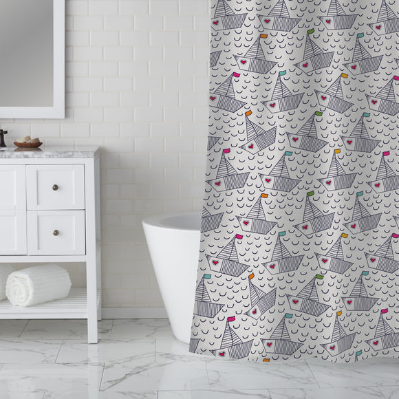 Cute Boats With Hearts Shower Curtain