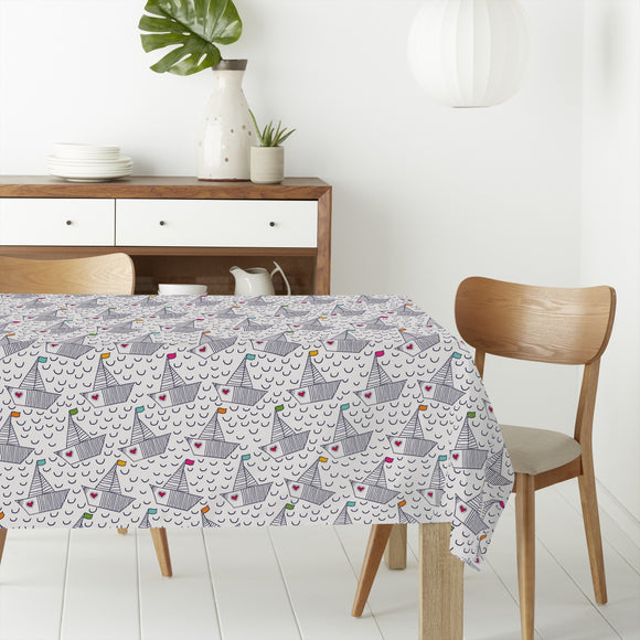 Cute Boats With Hearts Rectangle Tablecloths
