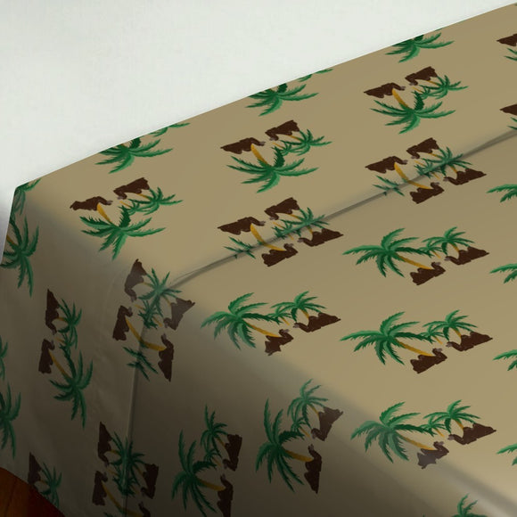 Camels in an Oasis Flat Sheets