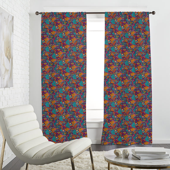 Abstract Boho Flora  Curtains