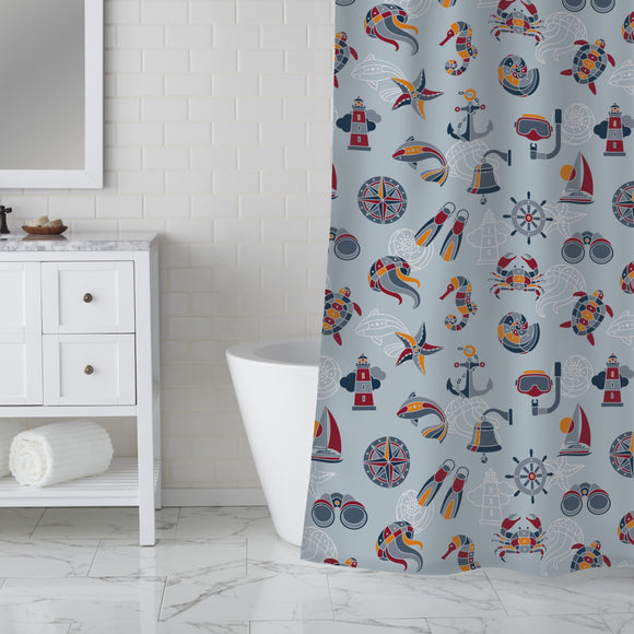 Across The Ocean Shower Curtain