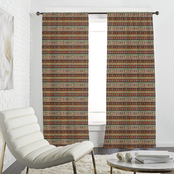 Aztec Bordure With Floral Elements Curtains